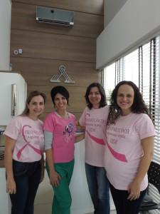 A assessora de comunicação Gizelle Gelinsky, a fisioterapeuta Alessandra, Roseane e a psicóloga Sula.