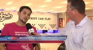 MCA Notícias, da TV MCA, sobre o Boliche do Bem, campanha do Bowl Club para ajudar a Rede Feminina de Combate ao Câncer de Itajai (17/10/2014).