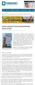 Publicação no site Timbó Net (28/01/2015).