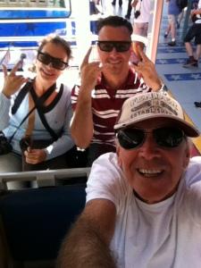 Nós três durante o passeio com o trenzinho dentro do parque  Universal Studios Hollywood