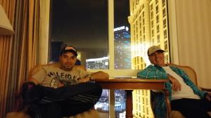 A vista do nosso quarto de hotel, em LV.
